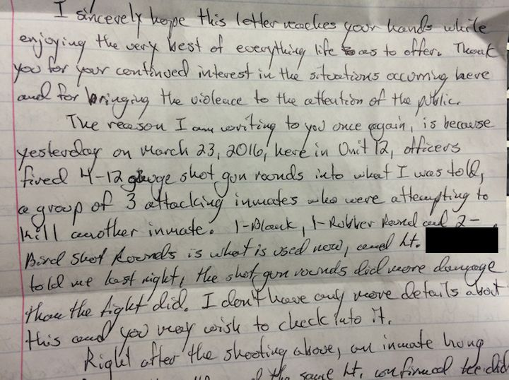 A letter from a High Desert State Prison inmate.