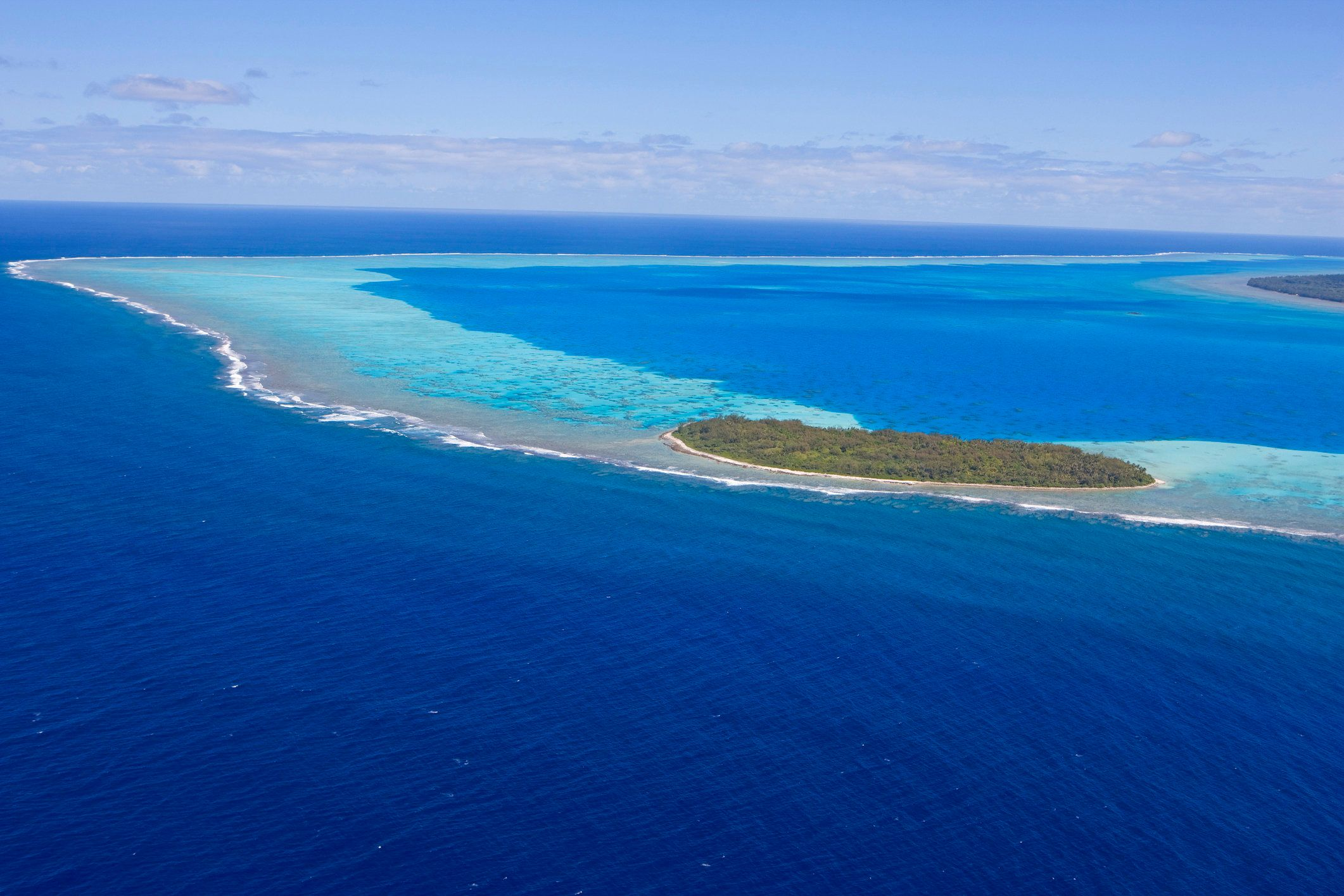 An aerial view of Raivavae island in the Austral Islands of French Polynesia.