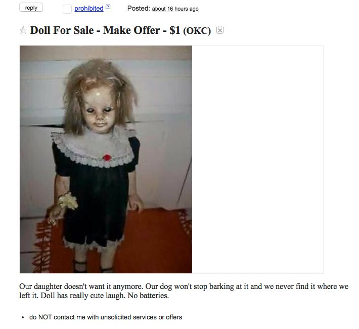 An Oklahoma seller has posted a creepy Craigslist ad for a doll that's said to laugh and move on her own.
