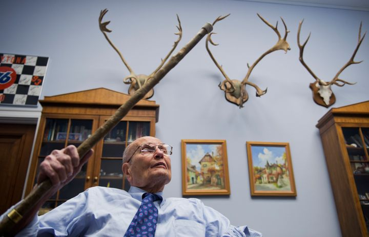 Dingell talks about the caribou and elk antlers that adorn the walls of his congressional office in 2014.