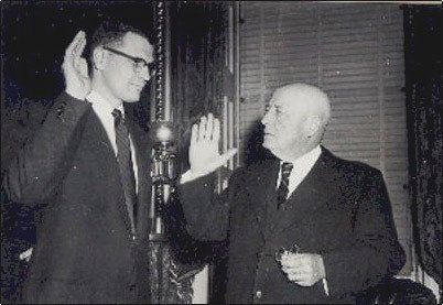 House Speaker Sam Rayburn swears in 29-year-old John Dingell Jr. on Dec. 13, 1955. He had won a special election to succeed h
