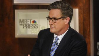 MEET THE PRESS -- Pictured: (l-r)  Andrea Mitchell, NBC News Chief Foreign Affairs Correspondent, left, and Joe Scarborough, Host of MSNBCs Morning Joe,' right, appear on 'Meet the Press' in Washington, D.C., Sunday, Oct. 5, 2014.  (Photo by: William B. Plowman/NBC/NBC NewsWire via Getty Images)