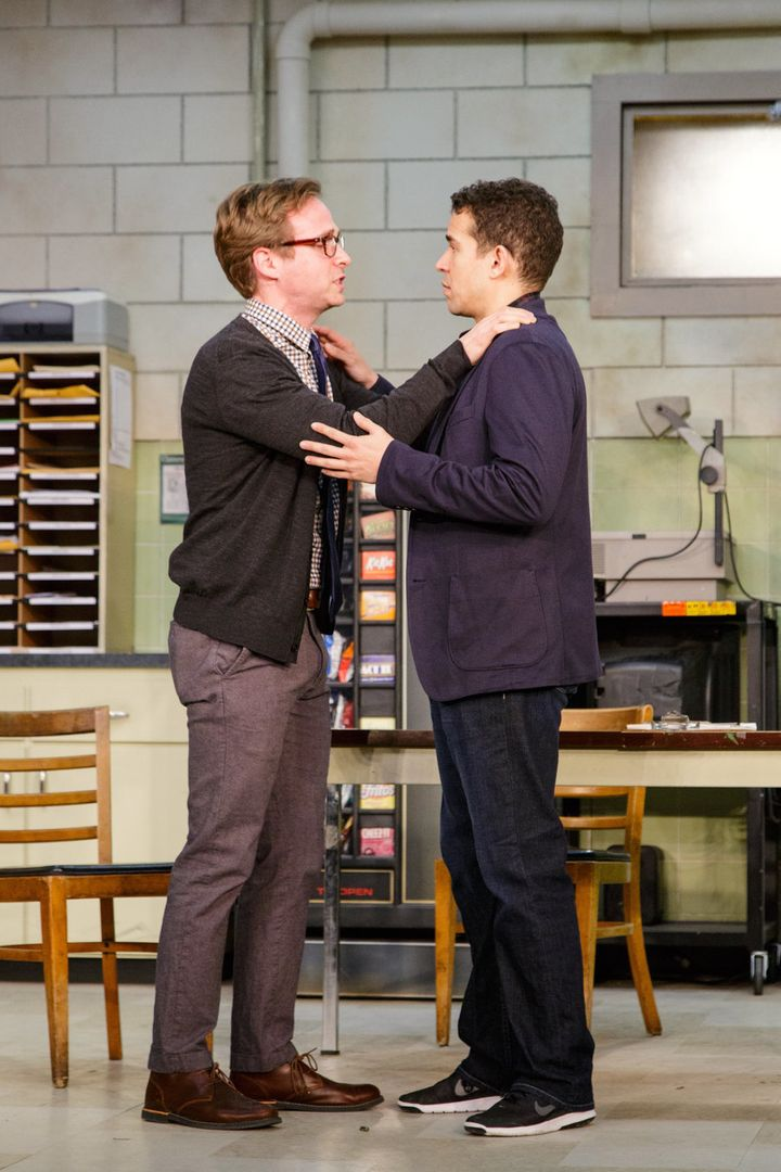 Ryan Spahn (left) and Rey Lucas play the school's vice principal and a math teacher, respectively.