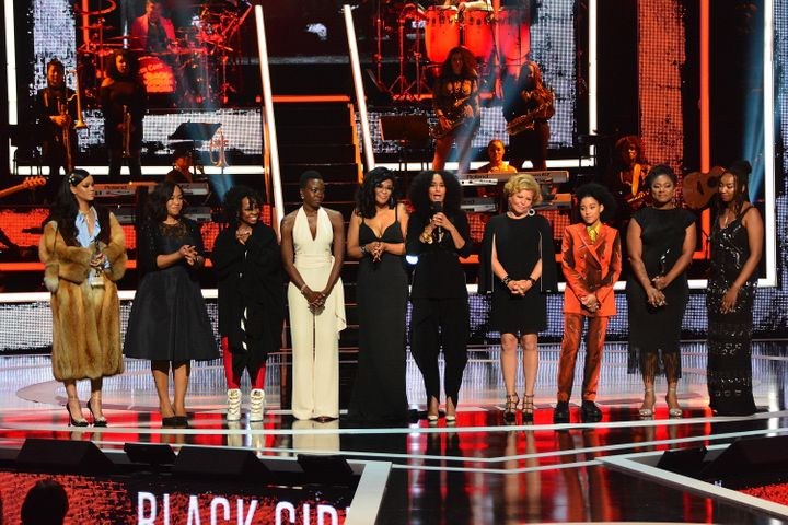 (L-R) Celebrants Rihanna, Shonda Rhimes, Gladys Knight, Danai Gurira, Beverly Bond, Tracee Ellis Ross, Debra Lee, Amandla Ste