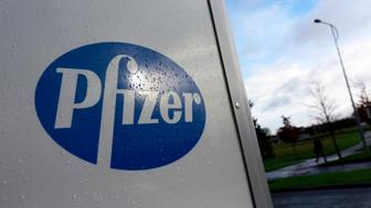 A company logo is seen at a Pfizer office in Dublin, Ireland November 24, 2015. Pfizer Inc said on November 23 it would buy Botox maker Allergan Plc in a deal worth $160 billion to slash its U.S. tax bill, rekindling a fierce political debate over the financial maneuver.  REUTERS/Cathal McNaughton