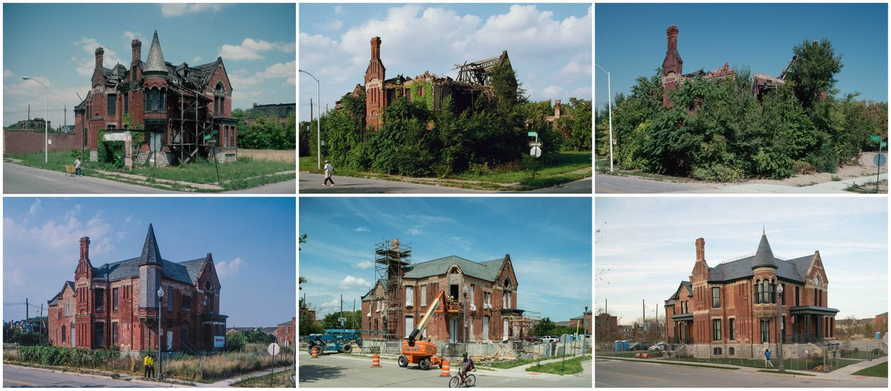 Ransom Gillis Mansion, Alfred at John R St., Detroit, shown in 1993, 2000, 2002, 2012, 2015 and again in 2015.