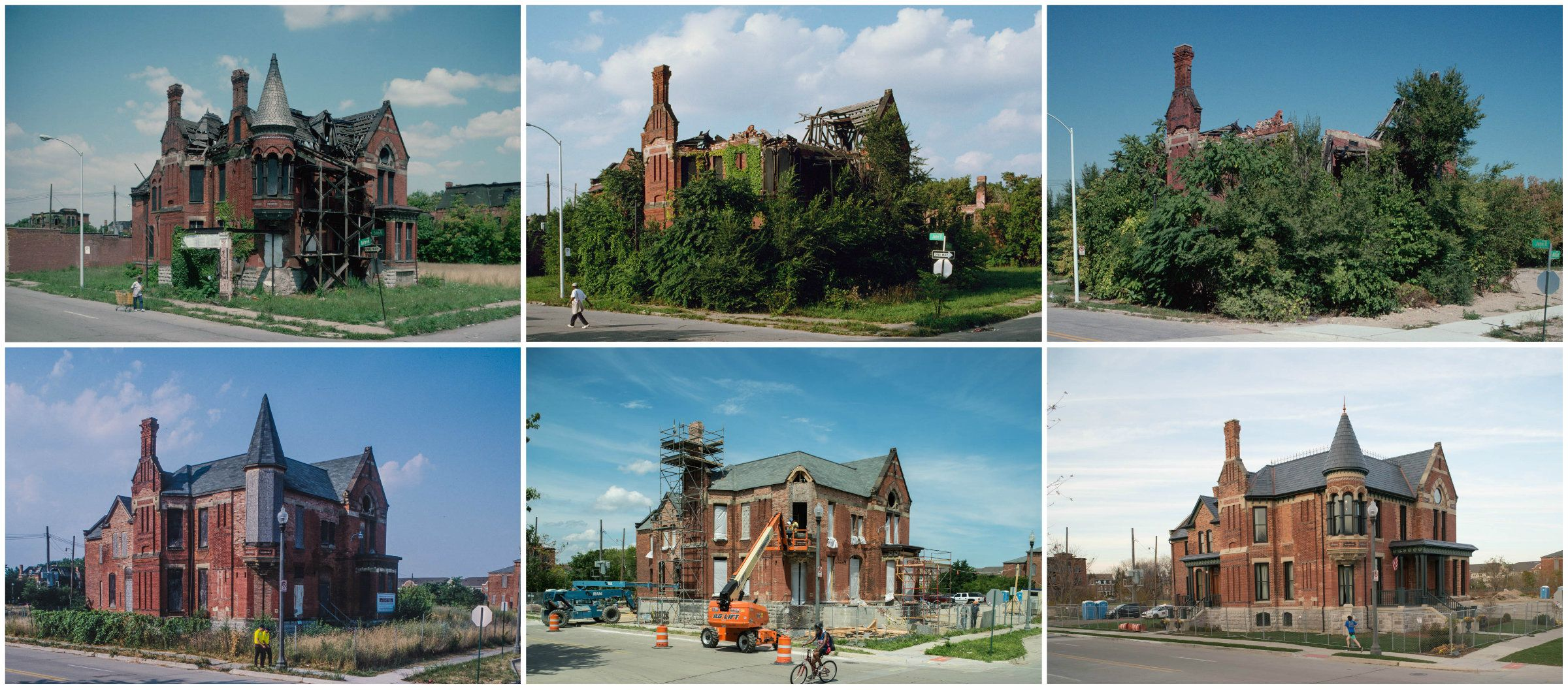 Ransom Gillis Mansion, Alfred at John R St., Detroit, shown in 1993, 2000, 2002, 2012, 2015 and againin 2015.