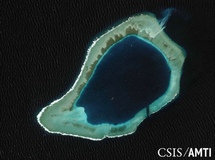 Subi Reef is an artificial island built up on dredged up sand. A U.S. warship sailed past it last year to challenge