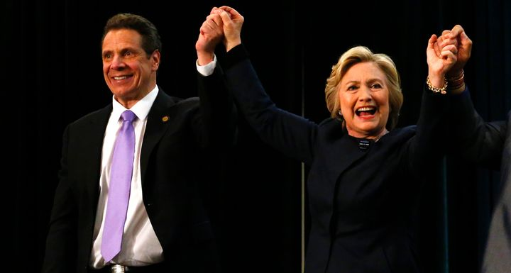 Hillary Clinton joined New York Gov. Andrew Cuomo (D) during a victory rally for the passage of a $15 minimum wage and paid f