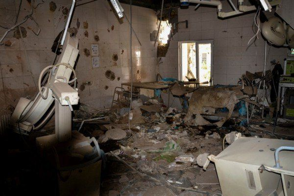 All but one ICU patients died, Thomas noted. This photo shows a damaged operating theater after the airstrike.
