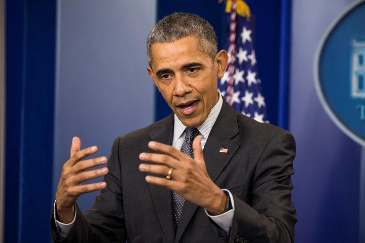 U.S. President Barack Obama speaks in the Brady Press Briefing Room about the state of the economy and closing corporate tax