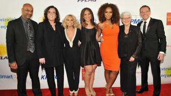 NEW YORK, NEW YORK - APRIL 04:  (L-R) Apoorva Gandhi, Rosie O'Donnell, Kristin Chenoweth, Melissa Harris-Perry, Janet Mock, Jean Hodges and Jody M. Huckaby attend PFLAG National's eighth annual Straight for Equality awards gala at Marriot Marquis on April 4, 2016 in New York City.  (Photo by D Dipasupil/Getty Images for PFLAG National )