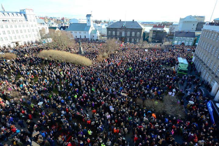 People demonstrate against Iceland's Prime Minister Sigmundur Gunnlaugsson in Reykjavik, Iceland on April 4, 2016.