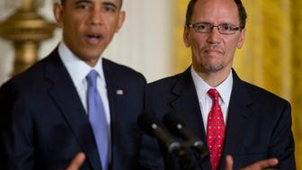 U.S. President Barack Obama, left, announces Thomas 'Tom' Perez, assistant attorney general at the U.S. Department of Justice, as his nominee to become labor secretary in the East Room of the White House in Washington, D.C., U.S., on Monday, March 18, 2013. Perez would replace Hilda Solis, ensuring that the Labor Department is led again by a Hispanic, helping the president maintaining diversity in his second-term cabinet. Solis resigned in January. Photographer: Andrew Harrer/Bloomberg via Getty Images