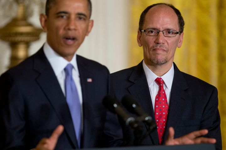 President Barack Obama with Labor Secretary Tom Perez, who unveiled the so-called fiduciary rule on April 6, which will