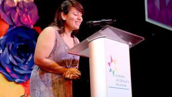 UNIVERSAL CITY, CA - NOVEMBER 12:  youTHink Speaker Ana Cobarrubias speaks onstage during the Zimmer Children's Museum Discovery Award Dinner at The Globe Theatre on November 12, 2015 in Universal City, California.  (Photo by Rachel Murray/Getty Images for Zimmer Museum)