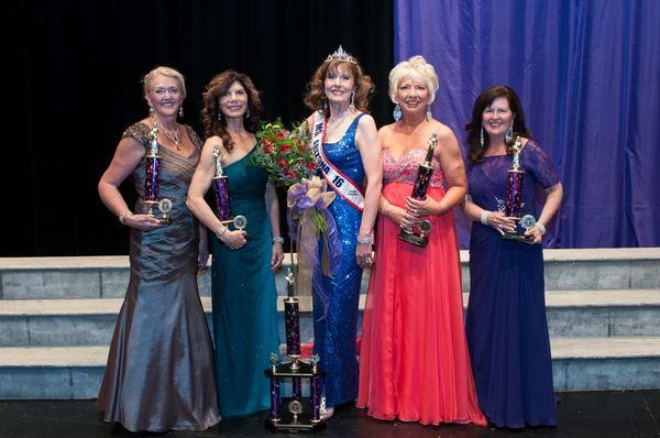 The runners up pose with their trophies along this year's winner, Jeanne Martin, Ms. Senior Arizona 2016.