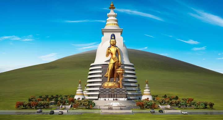 Graphic showing what the completed statue and stupa will look like.