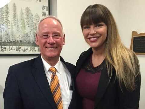 Ray, left, poses with Brenda Tracy. The two have teamed up to improve how Oregon State University handles sexual violenc