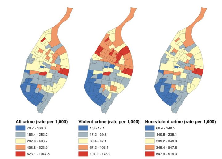 From left to right, total crime, violent crime and non-violent crime rates per 1,000 people in St. Louis between the years 2010 and 2012.