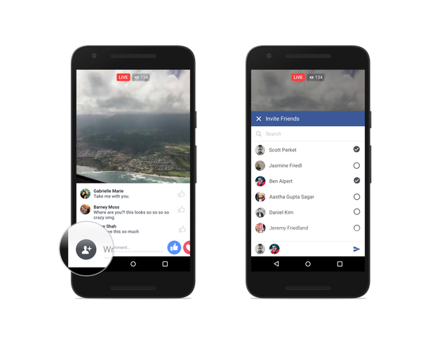 Inviting friends to watch Facebook Live