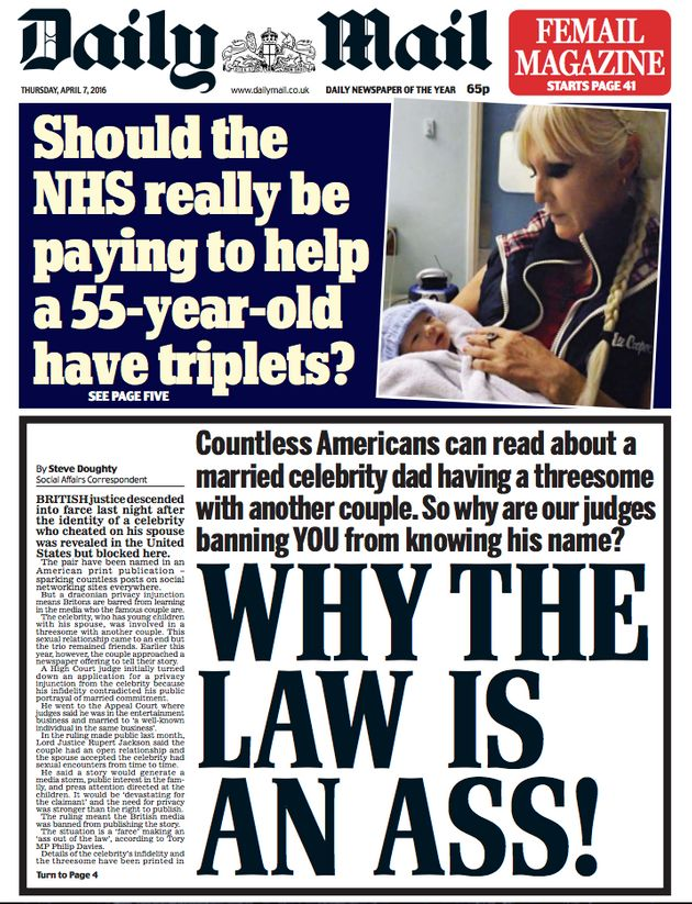 The front page of the Daily Mail on