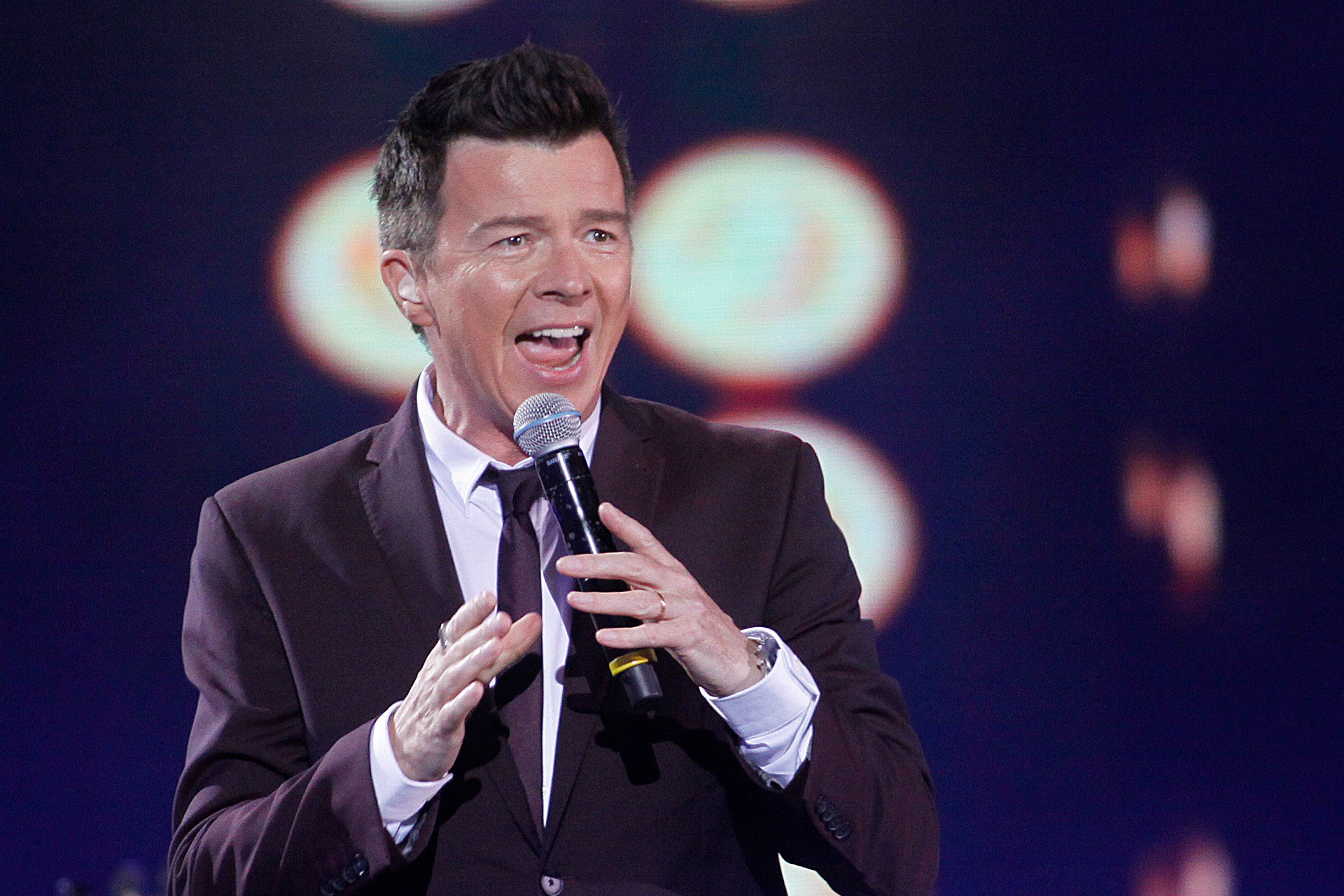 British singer Rick Astley performs during at the 57th of the song festival in Vina del Mar, Chile, on February 25, 2016.  / AFP / ATON CHILE / LUIS COLLAO        (Photo credit should read LUIS COLLAO/AFP/Getty Images)