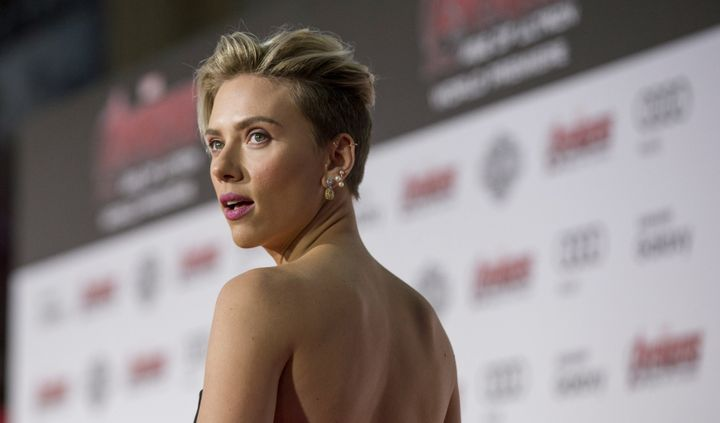 """Cast member Scarlett Johansson poses at the premiere of """"Avengers: Age of Ultron"""" in Hollywood, California April 13, 2015."""
