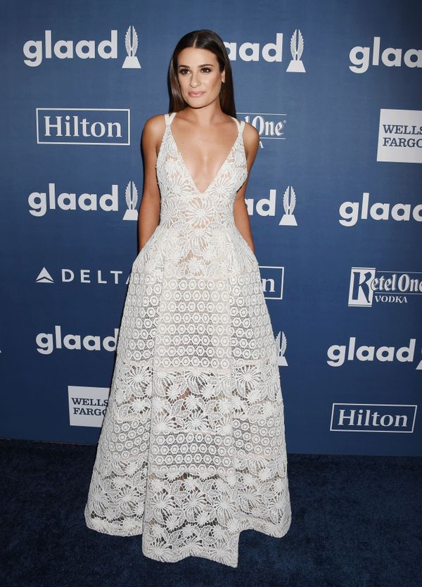 <strong>Lea Michele in Elie Saab:</strong> This could be our favorite Lea Michele look... ever. The sheer detailing, ful