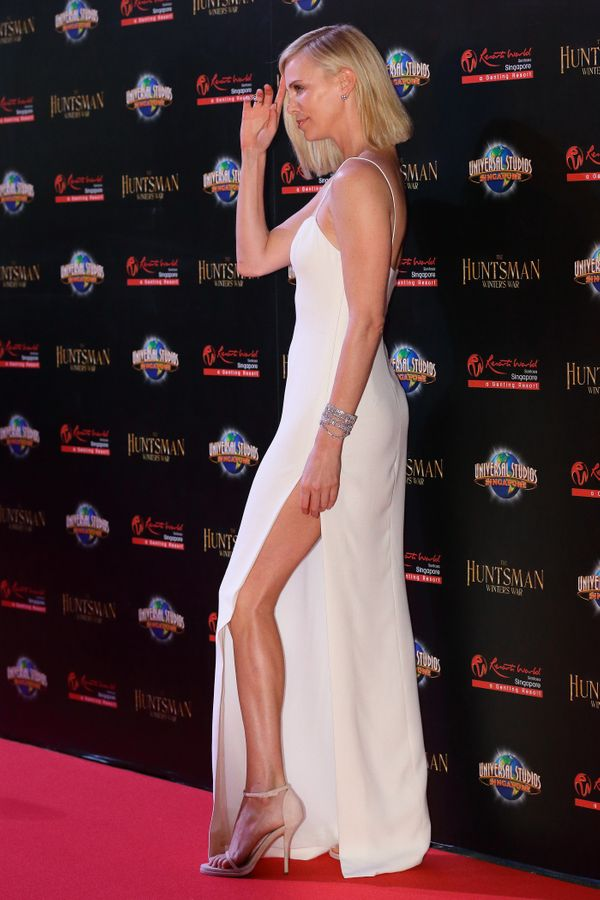 <strong>Charlize Theron in Dior:</strong> Can we get a moment of silence for that slit, please? It looks like decades in the