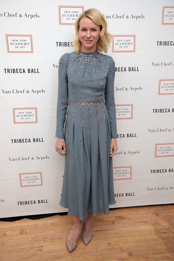<strong>Naomi Watts in Valentino:</strong> This dress is whimsical in just the right way. The muted blue color and long