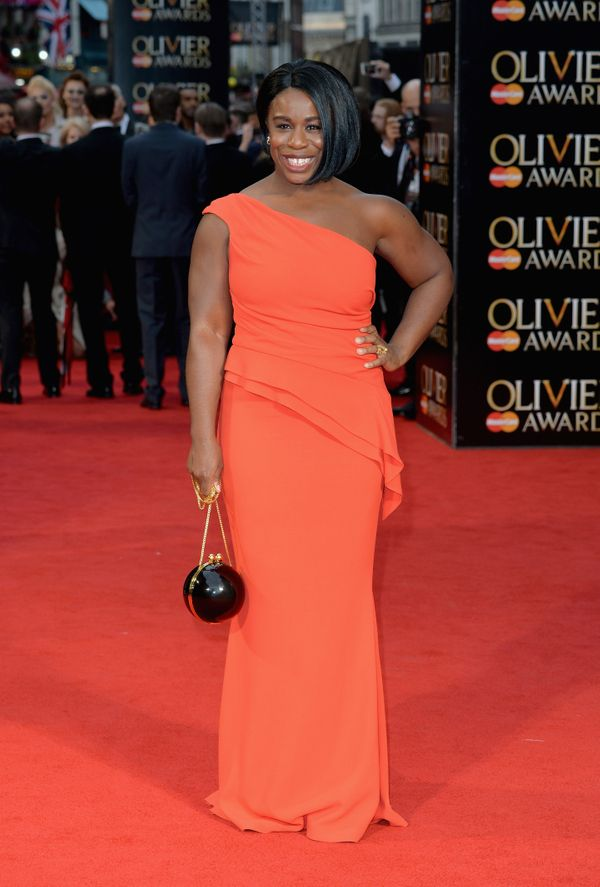 <strong>Uzo Aduba in Elizabeth Kennedy:</strong> Aduba's one-shoulder crepe evening gown is hugging her in all the right
