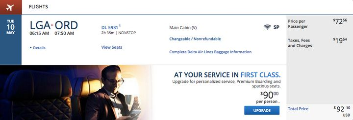 The first leg of the trip is $92.10 forthe same flight listed in the multi-city ticket.