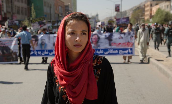 VICE correspondent Isobel Yeung at a women's rights protest in Kabul, Afghanistan.