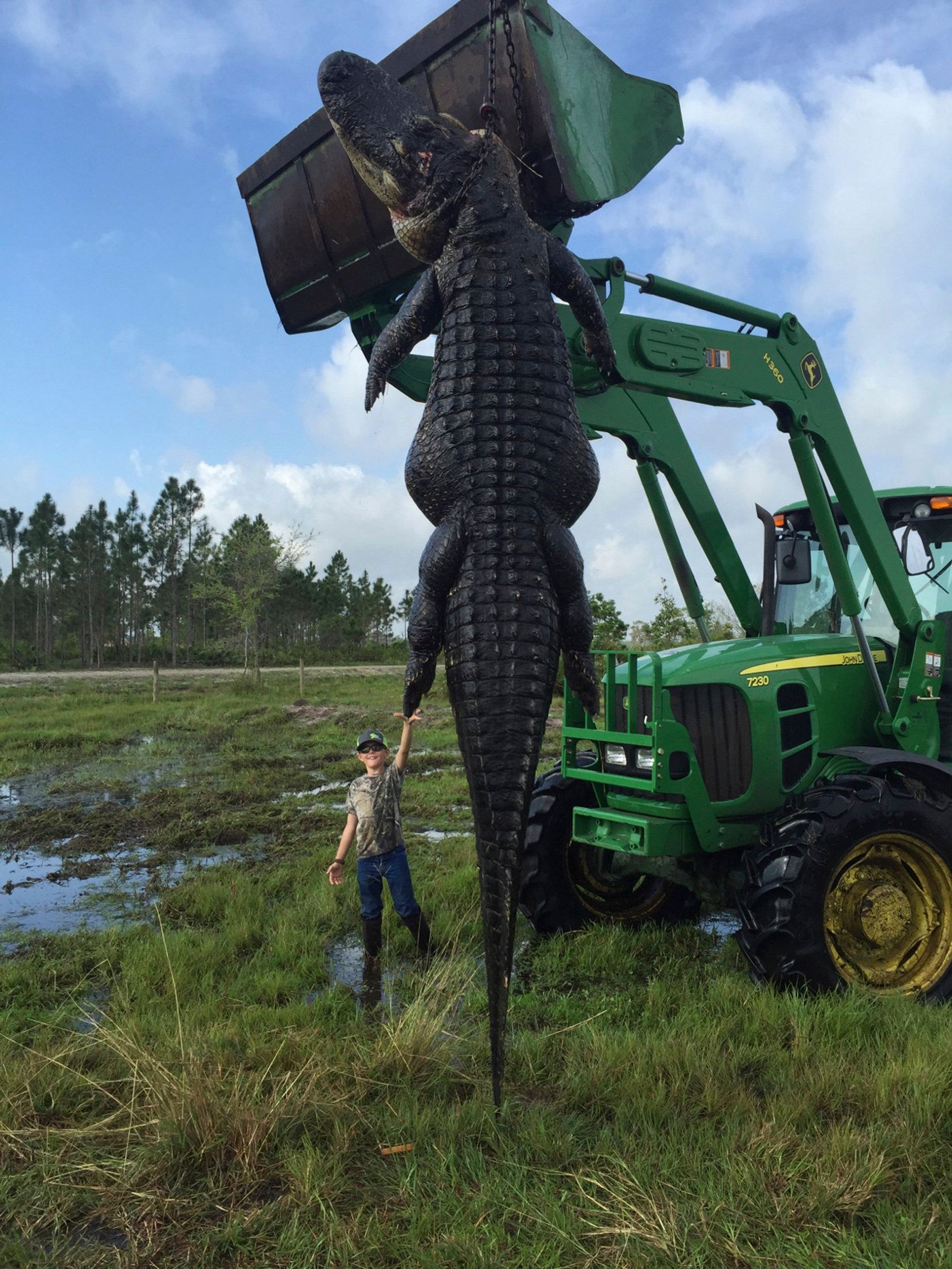 Nine-year-old Mason Lightsey is pictured with a 800-pound (363 kg) giant alligator caught at his father Lee Lightsey's farm in Venus, Florida in this April 2, 2016 handout photo released on April 6, 2016.  REUTERS/Lee Lightsey/Outwest Farms, Inc./Handout via Reuters  ATTENTION EDITORS - THIS PICTURE WAS PROVIDED BY A THIRD PARTY. REUTERS IS UNABLE TO INDEPENDENTLY VERIFY THE AUTHENTICITY, CONTENT, LOCATION OR DATE OF THIS IMAGE. EDITORIAL USE ONLY. NOT FOR SALE FOR MARKETING OR ADVERTISING CAMPAIGNS. NO RESALES. NO ARCHIVE. THIS PICTURE IS DISTRIBUTED EXACTLY AS RECEIVED BY REUTERS, AS A SERVICE TO CLIENTS      TPX IMAGES OF THE DAY