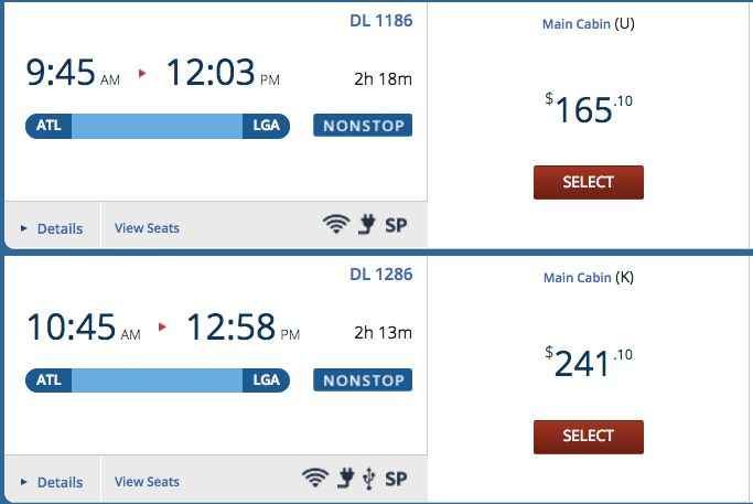 If a travelerchose the earlier flight, the total flight cost would cost even $76 cheaper.