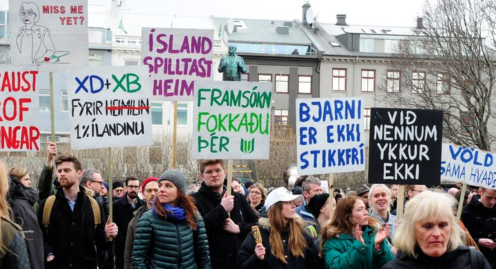 People demonstrate against Iceland's Prime Minister Sigmundur David Gunnlaugsson in Reykjavik on Tuesday.