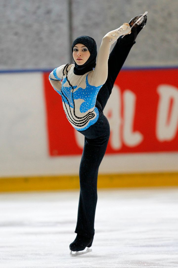 Zahra Lari performs during the figure skating European Cup on April 12, 2012 in Canazei, northern Italy.