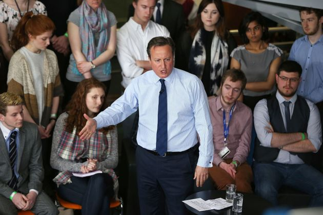 Prime Minister David Cameron addresses students at Exeter University earlier in the