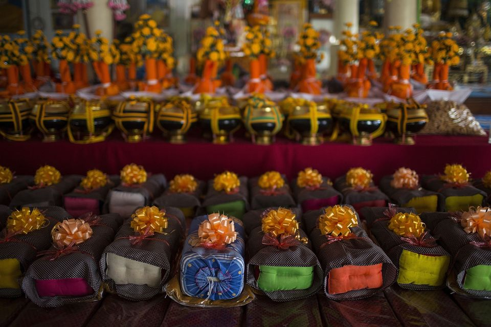 Robes and cushions for novices are laid out at Wat Supan Rangsri in Mae Sariang, Thailand, on April 5.