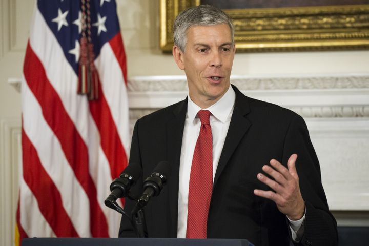 Former Secretary of Education Arne Duncan during a 2015 press conference.