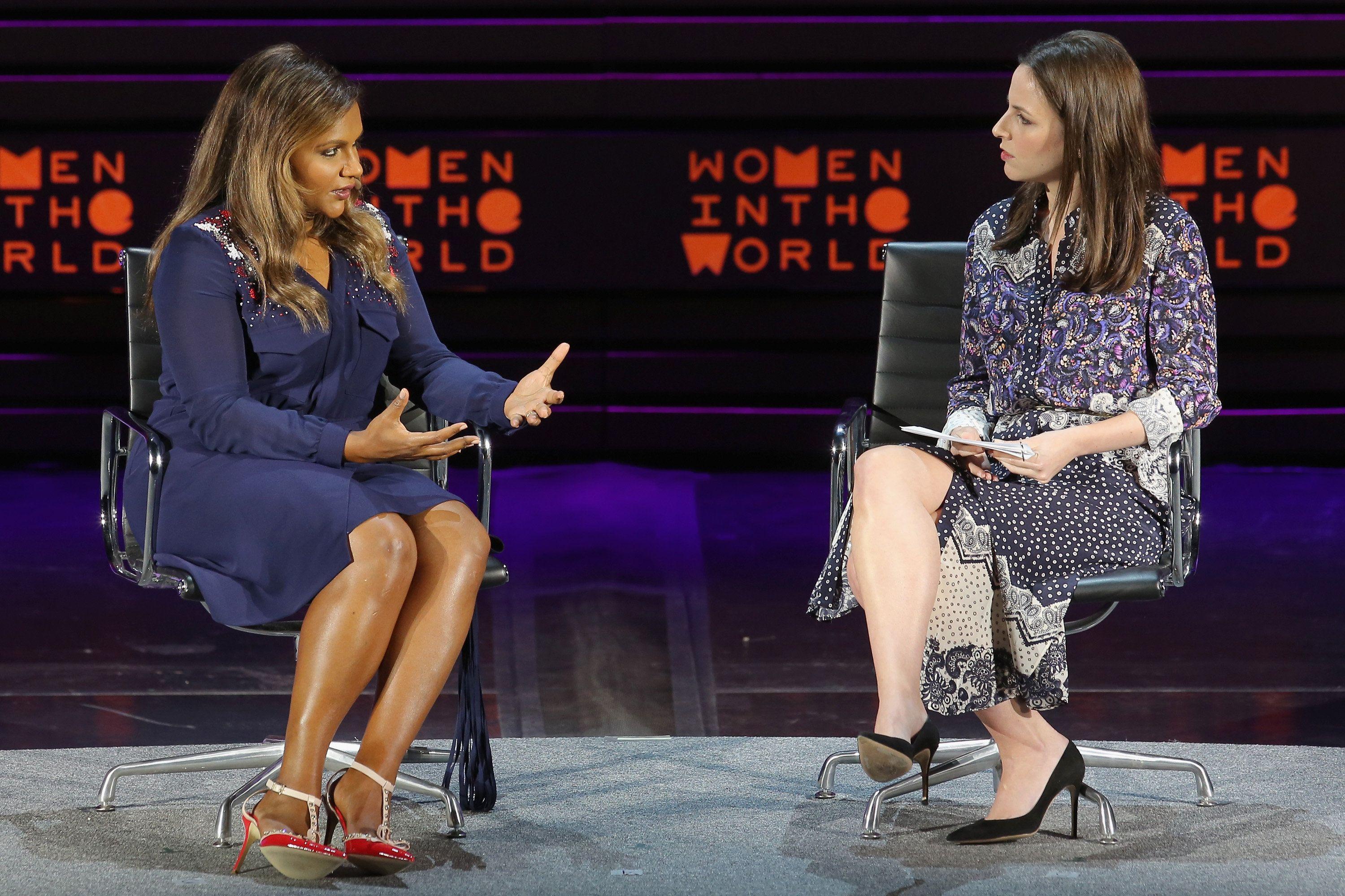 Mindy Kaling spoke about her new book <i>Why Not Me?</i> at the Women in the World Summit on Thursday.