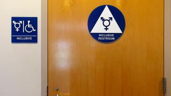 A gender-neutral bathroom is seen at the University of California, Irvine in Irvine, California September 30, 2014. The University of California will designate gender-neutral restrooms at its 10 campuses to accommodate transgender students, in a move that may be the first of its kind for a system of colleges in the United States.  REUTERS/Lucy Nicholson (UNITED STATES - Tags: EDUCATION SOCIETY POLITICS)