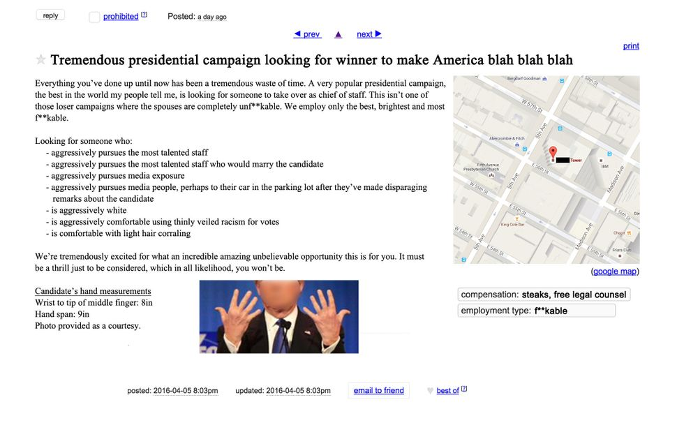 The Craigslist Ad Trump Should Post To Find A New Campaign ...