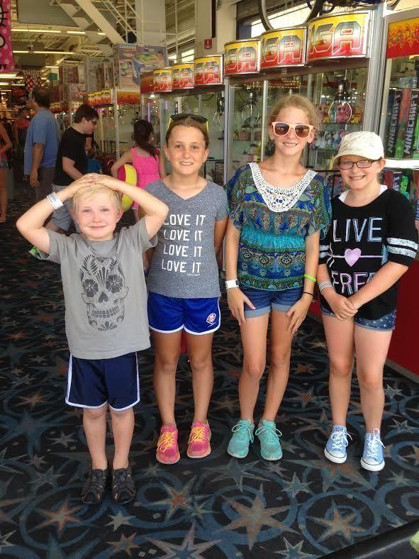 Trishand Joe's kids at a local arcade.