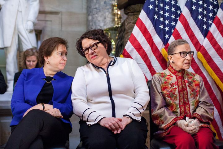 Supreme Court justices Elena Kagan, Sonia Sotomayor and Ruth Bader Ginsburg participate in an annual Women's History Month re