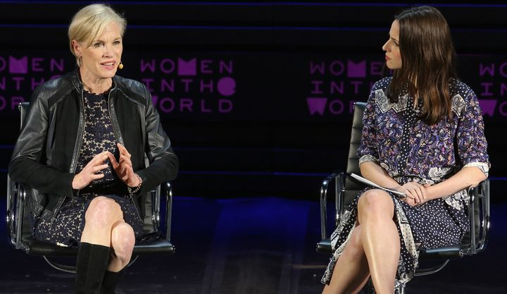 President of Planned Parenthood Cecile Richards talks to Alicia Menendez at Tina Brown's 7th Annual Women In The World Summit
