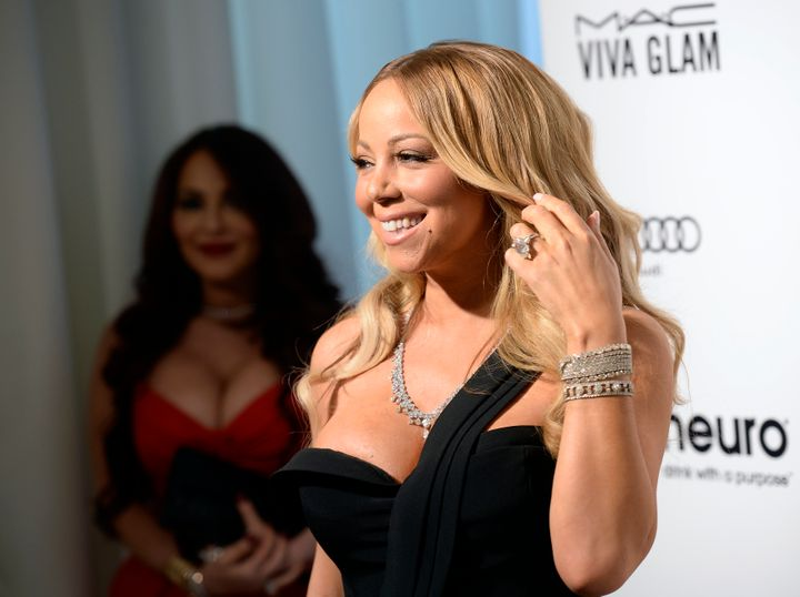 Singer Mariah Carey arrives at the Elton John AIDS Foundation Academy Awards Viewing Party in West Hollywood, California Feb.