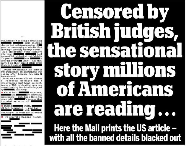 A redacted version of an article naming the celebrity that MailOnline ran in the