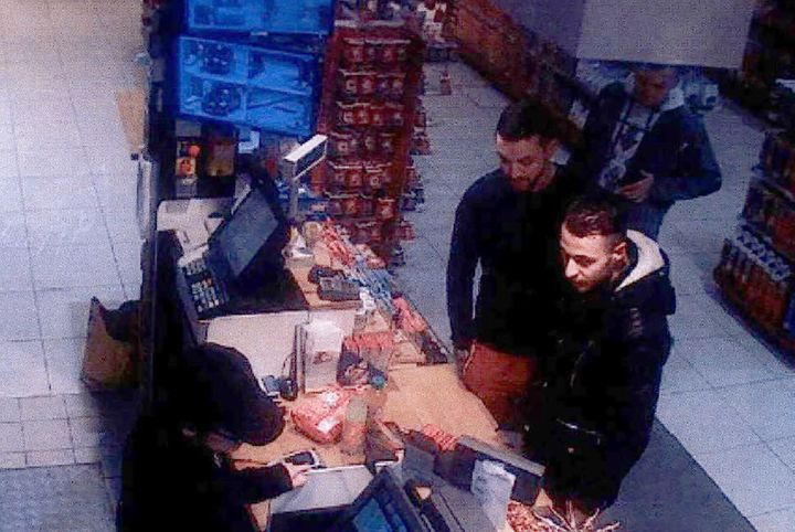This video image taken from a CCTV camera at a petrol station in Ressons, North of Paris, on November 11, 2015 shows Salah Ab
